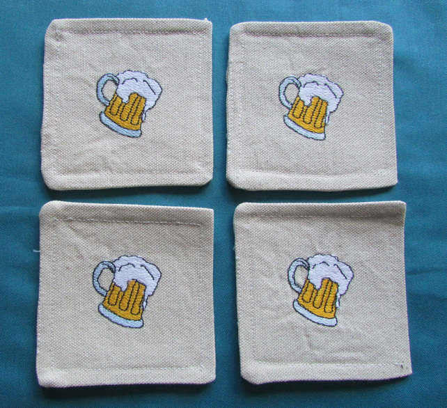Set of 4 fabric Coasters  with Beer Glass Motif