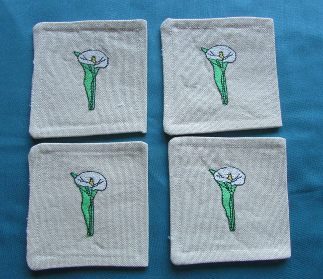 Set of 4 Lilly Motif fabric Coasters