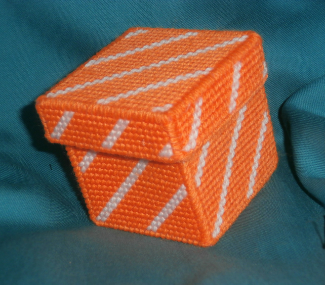 Orange and White Striped Trinket Box