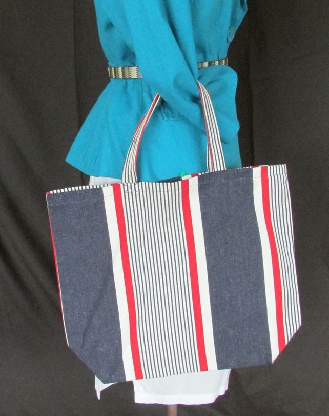 Blue and Red Striped Short Handle Tote Bag