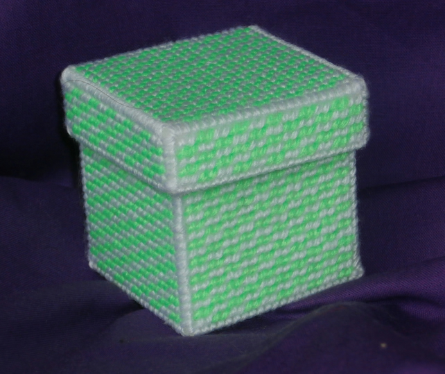 Green and White Striped Trinket Box