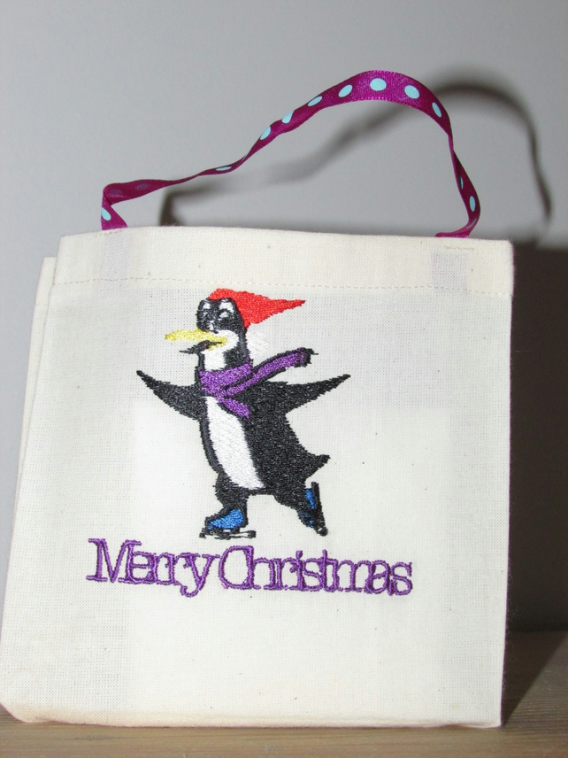 Merry Christmas Penguin with Purple scarf Gift Bag