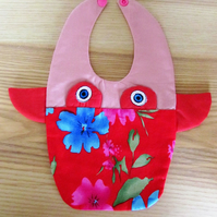 Fun Pink Flowery Cow Bib
