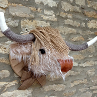 Faux taxidermy furry Highland Cow Coo animal head wall mount