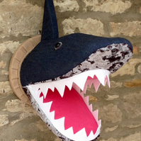 Faux taxidermy funky denim and velvet Shark animal head wall mount