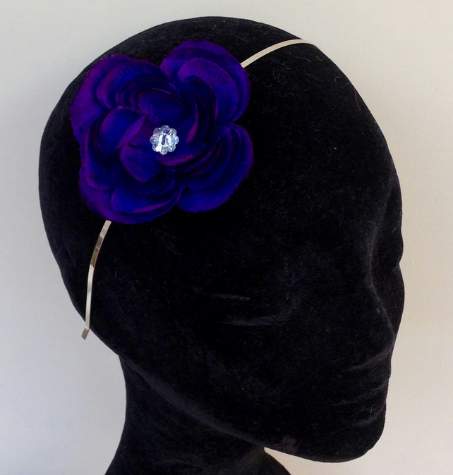 Handmade silk purple flower headband hair band with hand sewn diamante button