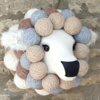 Faux taxidermy fabric Ba Ba sheep animal head wall mount