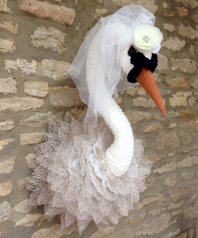 Handmade faux taxidermy Ivory Swan Bride wedding gift wall mounted decoration