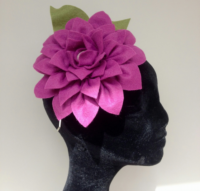 Handmade Lilac Lavender dahlia felt flower wedding party cocktail Fascinator Hat
