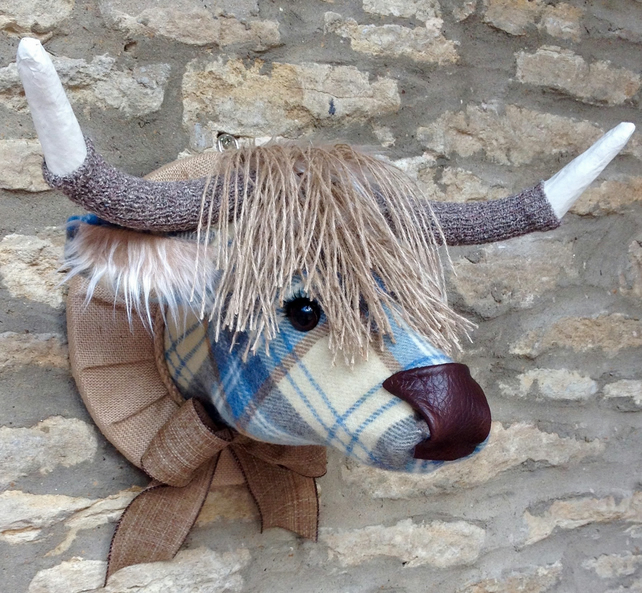 Faux taxidermy blue cream tweed check Highland Cow Coo animal head wall mount