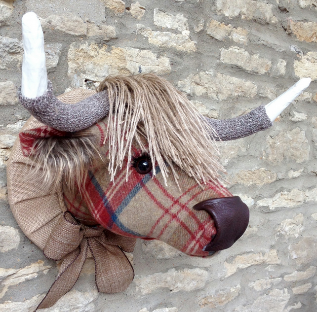 Faux taxidermy red and brown tweed check Highland Cow Coo animal head wall mount