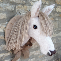 Faux taxidermy Harris tweed country horse pony animal head wall mount