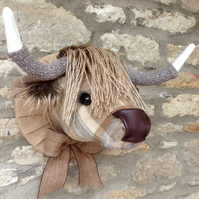 Faux taxidermy beige & brown tweed check Highland Cow Coo animal head wall mount