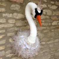 Faux taxidermy elegant Swan Princess animal head wall mount