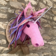 Handmade Unicorn Harris tweed Faux taxidermy wall mount animal head trophy