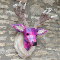 NEW Handmade faux taxidermy stag Harris tweed pink & purple deer head wall mount