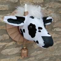 Faux taxidermy black & white Moo cow animal head wall mount
