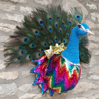 Faux taxidermy handmade Disco Diva sequin peacock bird head wall mounted trophy