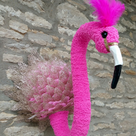 Faux taxidermy funky pink Flamingo animal head wall mount