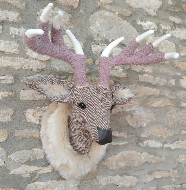 Handmade faux taxidermy stag Harris tweed herringbone deer head wall mount
