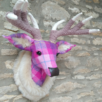 Handmade faux taxidermy stag Harris tweed pink & purple deer head wall mount