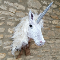 Handmade Unicorn white & silver velvet faux taxidermy wall mount animal head