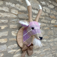 Handmade plaid billy goat head faux taxidermy heather lavender olive trophy