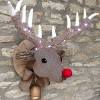 Handmade Rudolph reindeer faux taxidermy wall mounted animal head trophy