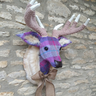 Handmade faux taxidermy stag Harris tweed purple check deer head wall mount
