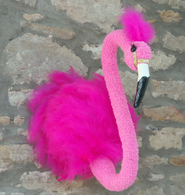 Handmade feathered pink baby flamingo head faux taxidermy wall mounted