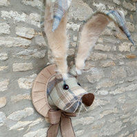 Faux taxidermy Easter tweed bunny, hare, rabbit wall mount animal head trophy