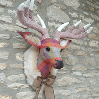 Handmade faux taxidermy stag Harris tweed multi check deer head wall mount