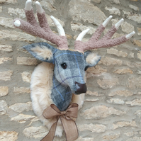 Handmade faux taxidermy stag Harris tweed grey check deer head wall mount