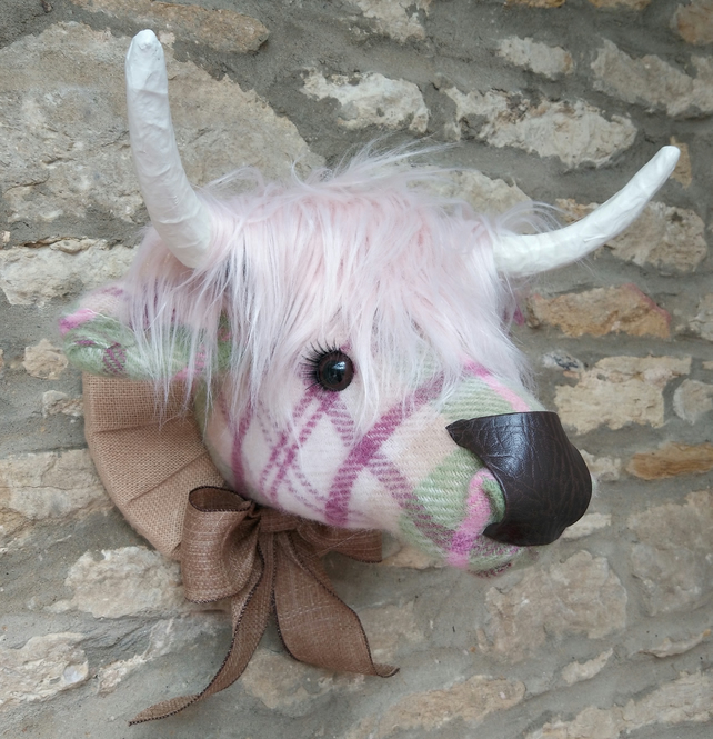 Faux taxidermy cottage check pink wool Highland Cow Coo animal head wall mount