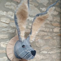Faux taxidermy grey tweed bunny, hare, rabbit wall mount animal head trophy