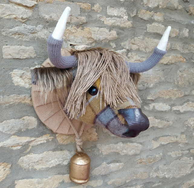Faux taxidermy Buchanan mustard grey tweed Highland Cow animal head with bell