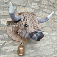 Faux taxidermy Mackellar tartan tweed Highland Cow animal head with bell