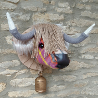 Faux taxidermy Cottage Candy Tweedmill Highland Cow animal head with bell