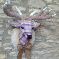 Handmade faux taxidermy lavender & Lilac plaid check stag wall mount animal head