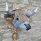 Faux taxidermy Stewart tartan muted blue Highland Cow Coo animal head wall mount