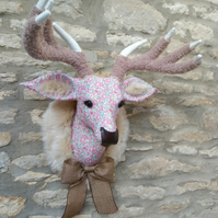 Handmade faux taxidermy stag Liberty floral Betsy Ann pink deer head wall mount
