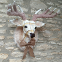 Handmade faux taxidermy dijon, mustard check stag wall mount animal head