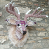Handmade faux taxidermy purple and cream Berridale stag wall mount animal head