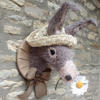 Handmade baby donkey head with straw hat and daisy faux taxidermy trophy