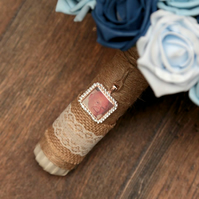 Bouquet photo memory charm, rose gold