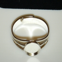 1 Silver Plated Cabochon ring setting Blanks base 8mm x 10mm