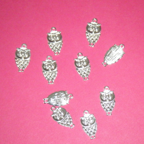 10 Antique Tibetan Silver Owl Charms