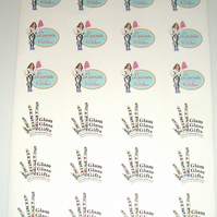 24 x stickers labels Custom personalised printed White x 5 sheets