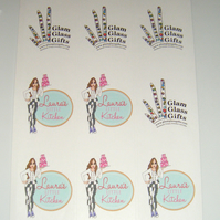 9x Stickers Custom personalised printed White Stickers x 5 sheets