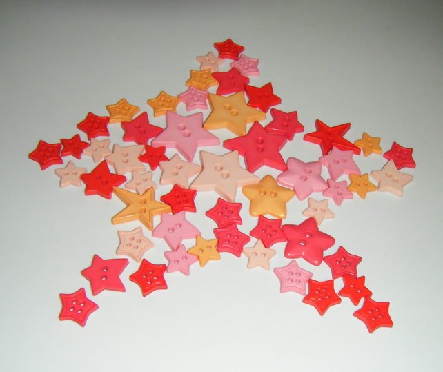 Stars buttons Mixed shape and colours - Pink, Red and Peach